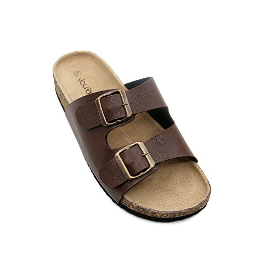 (JOURNEI Unisex Adjustable Double Buckle Flat Sandals)