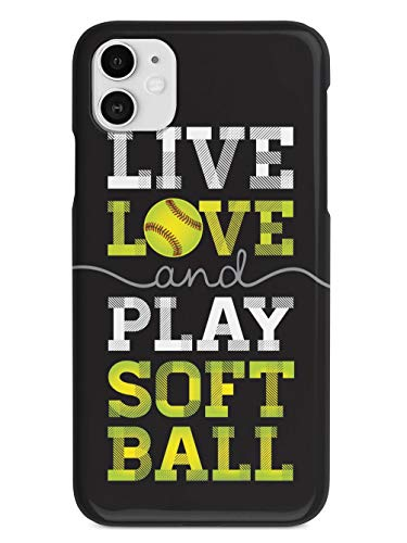 Inspired Cases - 3D Textured iPhone 11 Case - Rubber Bumper Cover - Protective Phone Case for Apple iPhone 11 - Live Love & Play Softball