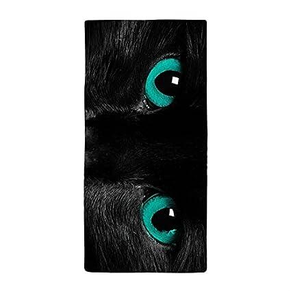 Río Gato Negro con ojos azules de verde cena absorbente cena absorbente toalla toalla de baño
