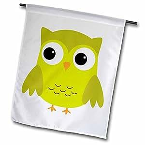 Anne Marie Baugh Owls - Cute Green Owl - 12 x 18 inch Garden Flag (fl_58280_1)