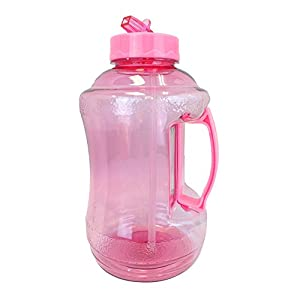 1.68 Liter BPA FREE Reusable Plastic Drinking Water Bottle Jug Container with Plastic Handle and Drinking Straw - Pink