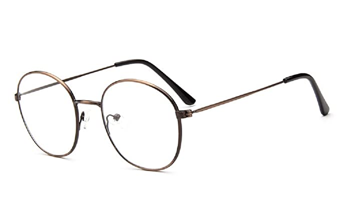 a9912507c0a Unisex SLD9728 Classic Metal Thin Frame Rim Round Eyeglasses Small Size  (Brass