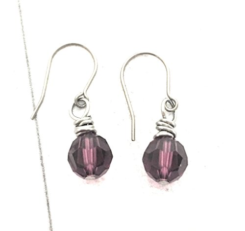 Element Amethyst Ring - Wire Wrapped Earrings, Amethyst Round Swarovski Crystal Element, Titanium Earwire