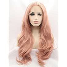 Tsnomore Long Curly Candy Pink Fashion Front Lace Women Wig