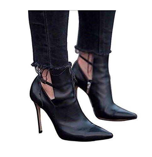 schwarzen Schuhe Stiefelette Heel GAIHU wies Winter Damen Stiletto Leder Herbst xZg0wwfvq