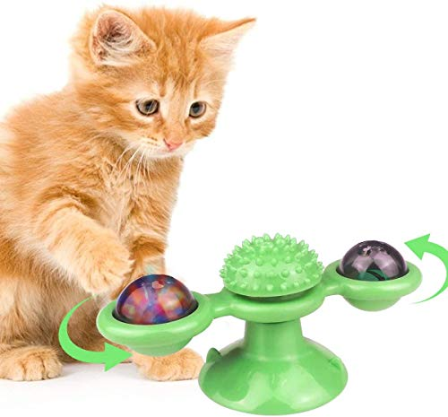 Vzatt Catnip Toy, Windmill Cat Toy with Suction Cup and Lights, Turntable Interactive Toothbrush Teething Chew Massage Scratch Toys Gifts Gadgets for Indoor Cats Kitten Kitty