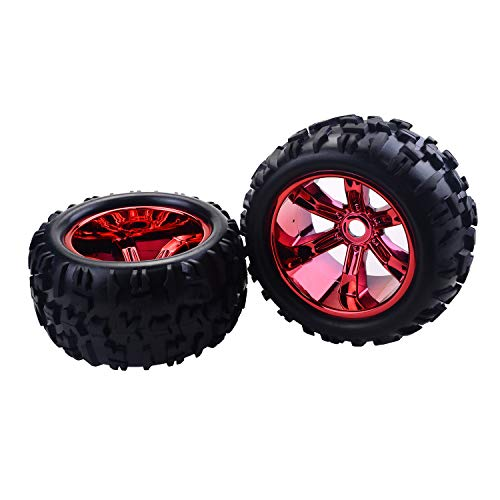 (RC Tires 2PCS RC Car Wheel Rim Tire for Redcat Hsp Kyosho Hobao Hongnor Team Losi GM HPI 1/8 Truggy Monster Truck Rubber Tyre 17mm Hex)