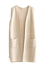 Sovoyant Women\'s Classic Sleeless Open Front Knit Cardigan Jersey Vest Sweater