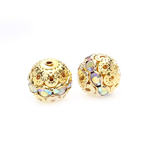 Linsoir Beads Round Crystal AB Stones Spacer Beads Gold Plated Hollow Metal (Ab 12mm Beads)
