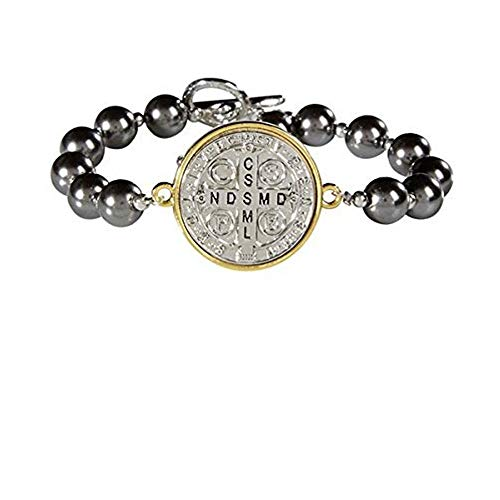 (CB Saint Benedict Protection Bracelet- Two Toned Silver Plate, Gold Rim St. Benedict MEDA with Imitation Pearl Beads Rosary Bracelet with Silver Crucifix Charm and Toggle Closure)