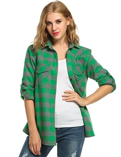 - Women's Button Down Plaid Shirt Stylish Roll up Long Sleeve Checkered Flannel Shirt