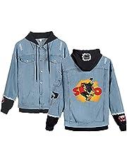 Denim Stiksels Jasje met Lange Mouwen SK8 the Infinity Cosplay Jeans Hoodie Lange Mouw Casual Retro Gat Nieuwigheid Anime Denim Jasje voor Tieners Jongens en Meisjes