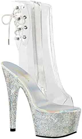 6c5bcef51f Summitfashions Womens Mid Calf Boot Silver Rhinestone Shoes Clear Platform  Booties 7 Inch Heel