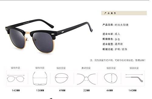 gafas sol LSHGYJ gafas de black metal medio Clásico plaster sol sol salvaje Bright de marco gafas clavos arroz gafas de GLSYJ 0Fw0q1Z