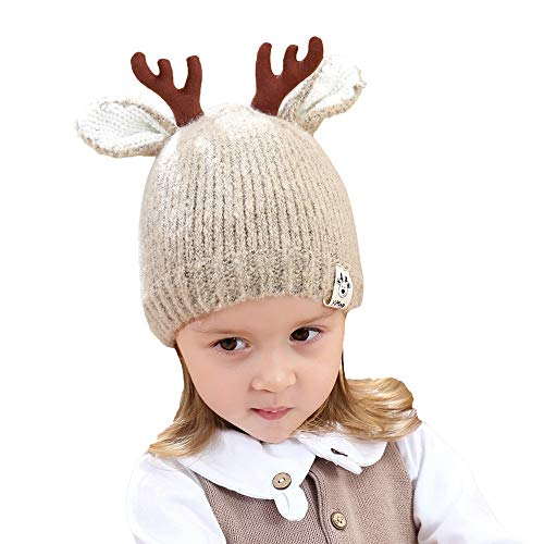 - Christmas Hat for Kids,WUAI Knit Cap Elk Horn Winter Hat Santa Snowman Reindeer Hats for Kids Child Accessories(Coffee,Free Size)