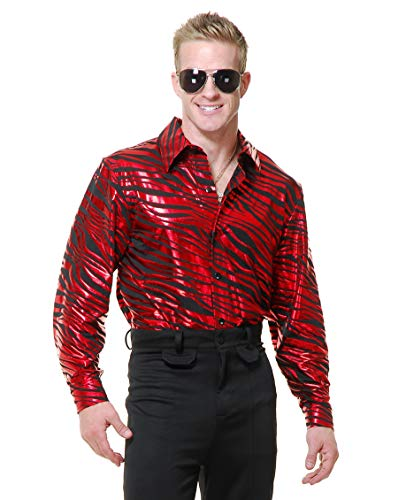 Charades Men's Zebra Print Disco Shirt, red, Medium -