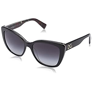 D&G Dolce & Gabbana Women's 0DG4216 Oval Sunglasses, Black On Printing Roses, 55 mm