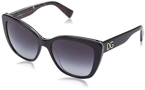 D&G Dolce & Gabbana Women's 0DG4216 Oval Sunglasses, Black On Printing Roses, 55 - D Frames & G