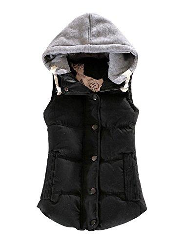 Capuche Epais Manteau Casual Gilet Femme Automne Manches sans Hiver Sportif OCHENTA Coton Noir xvBgCqxw
