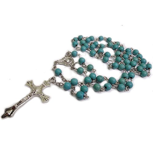 Unique Turquoise Beads Rosary Blue Catholic Necklace Holy Soil Medal & Cross (Rows Necklace Turquoise Blue)