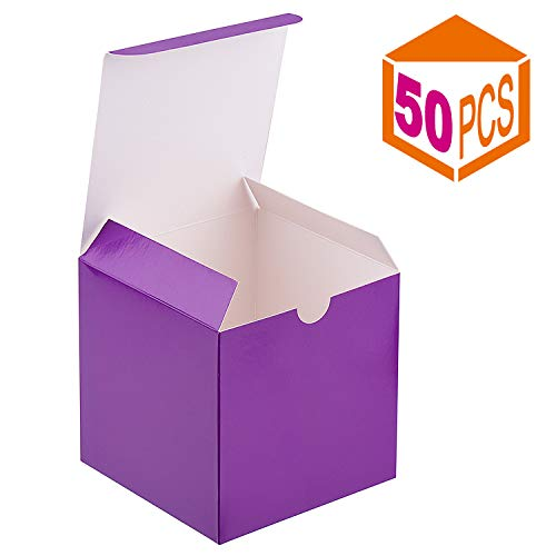 Boxes Purple Favor - MESHA Kraft Boxes,4x4x4 Inch 50Pack Paper Gift Boxes with Lids for Gifts, Crafting, Cupcake Boxes,Boxes for Wrapping Gifts,Bridesmaid Proposal Boxes (Purple)