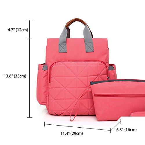 totes y hombro Bolsos Shoppers bolsos Set Cuero de Rosa Bolsos de 3pcs Bolsos mujer bandolera PU Gris para 8wSfxOqX
