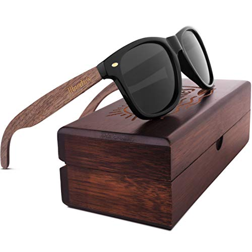 Woodies Walnut Wood Sunglasses with Polarized Lens in Wood Display Box for Men and ()