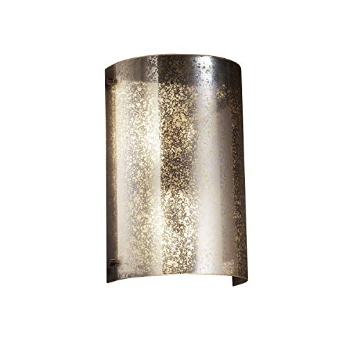 Justice Design Group - Fusion Collection - Finials Curved Wall Sconce - Dark Bronze Finish with Mercury Glass