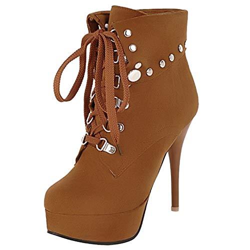 Haut Automne Boots Femme Bottines Chaussures Plateforme À Hiver Rivets Martin Taoffen Talon Jaune Lacets qv46x57w