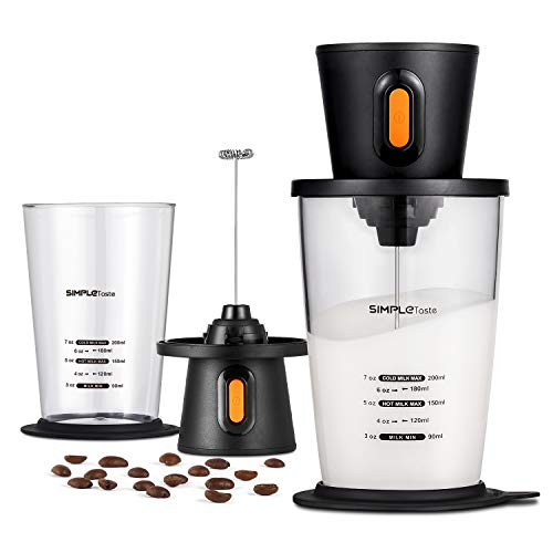SIMPLETASTE Electric Milk Frother with Pitcher, Hands-free Battery Powered Foam Maker for Nespresso, Cappuccino and Coffee, 2 AA Batteries (Not Included), Black