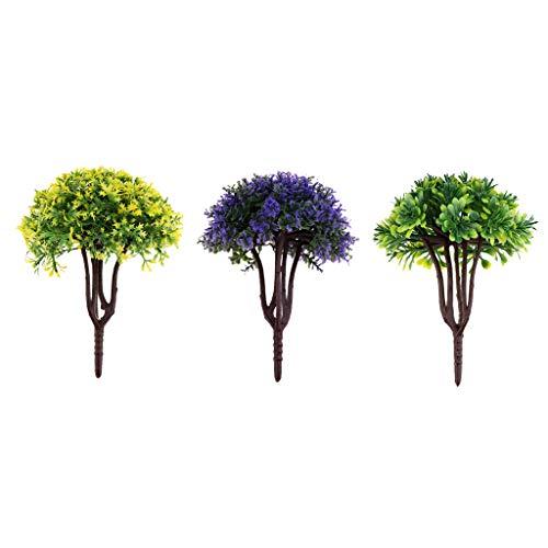 Fityle 3pcs 1:40 Scale Flower Tree, 3-Shape Leaf, Olivine Fiddle Leaf Purple Palmate Leaf Green Obovate Leaf for Micro Landscpae Sand Table Model Layout