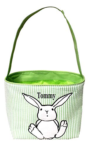 Unique Plush Applique Easter Bunny Rabbit Seersucker Fabric Basket Bucket Tote Bag - Custom Personalization Available (Green Stripe with Embroidery Name) ()