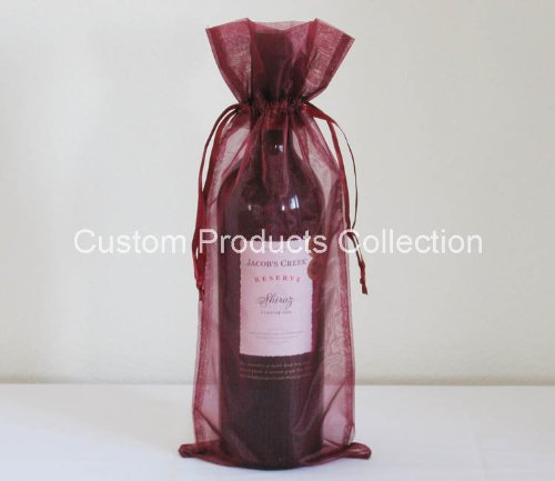 12 Burgundy Organza Bags - Bottle/Wine Bags Gift Pouch, 6