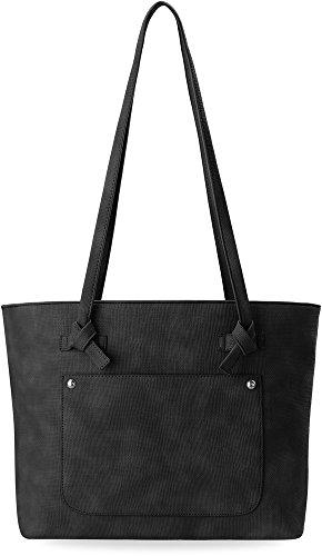 großer Shopperbag Damentasche mit angebundenen Riemen schwarz