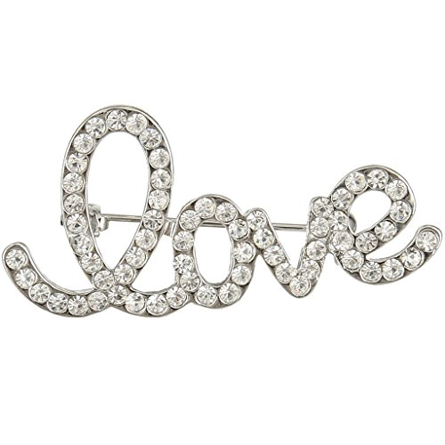 EVER FAITH Women's Austrian Crystal Romantic Love Letter Brooch Pin Clear Silver-Tone