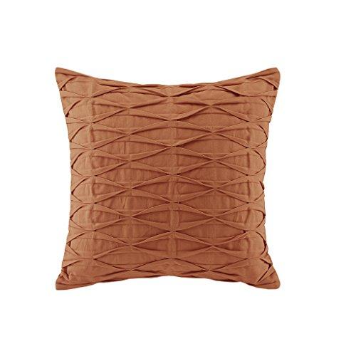 Contemporary Square Sofa - N Natori Nara Pintuck Cotton Modern Accent Throw Pillow, Contemporary Fashion Square Decorative Pillow, 18X18, Orange