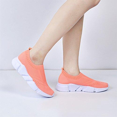 Qansi Damessneakers Mush Ultra Lichtgewicht Atletisch Tennis Met Ademende Waterschoenen Klompen Sandalen Perzik