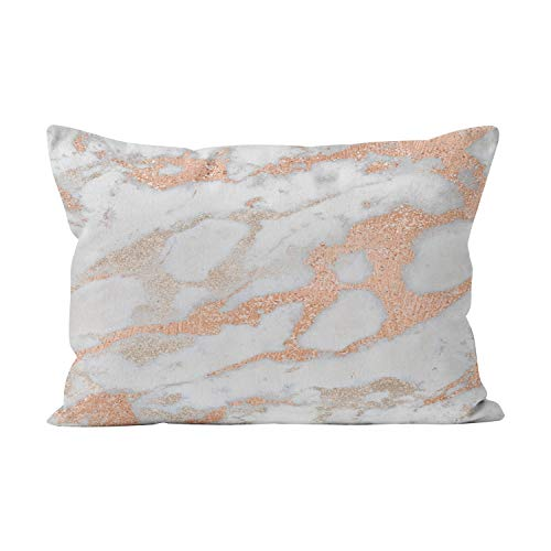 Suike Abstract Gray Ivory Copper Metallic Marble Stone Hot Hidden Zipper Home Decorative Rectangle Throw Pillow Cover Cushion Case Lumbar 12x24 Inch One Side Design Printed Pillowcase