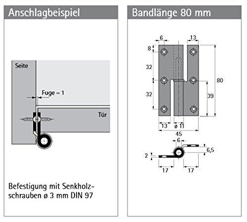 Relativ Möbelband 209, Kröpfung B Links, 80 mm Vernickelt matt: Amazon.de HO18