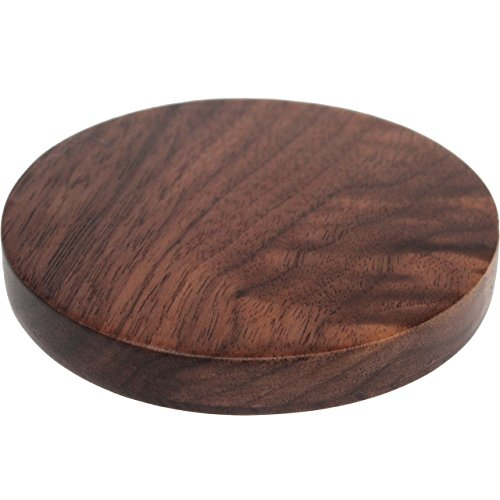 Qi Wireless Charger - Walnut Wood Wireless Charge Pad for Qi-Enabled Devices - Wooden Fast Charging Base for iPhone 8/8 Plus, iPhone X, Samsung Note & Galaxy S8/S8+/S7/S7 Edge/S6 Edge+ & More