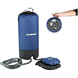 FUNDANGO Portable Foot Pump Pressure Solar Camping Shower for Outdoor Sports Beach, 3.96 Gallons