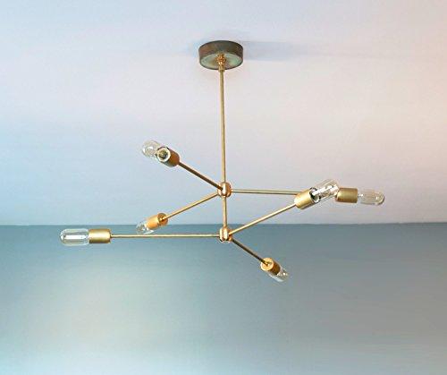 Modern Brass 6 Arm Chandelier - Retro Style Brass Chandelier Light (Brass Six Arm Chandelier)