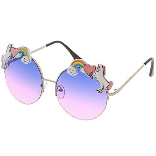 sunglassLA - Unicorn Rainbow Semi Rimless Round Sunglasses With Gradient Colored Lens 56mm (Silver / Blue - Unicorn Sunglasses
