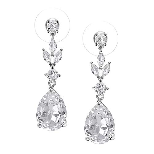SWEETV Teardrop Wedding Earrings for Women,Bridesmaids,Brides -Rhinestones Earrings for Bridal,Prom,Formal-Silver ()