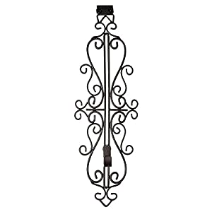 [Front Door WREATH HANGER] - Colonial Design | ADJUSTABLE Hook Length for Tall and Small Doors | PADDING to Prevent Damage like Scratch and Dents | Heavy Duty Cast Iron Metal Hangar - BROWN Finish 70