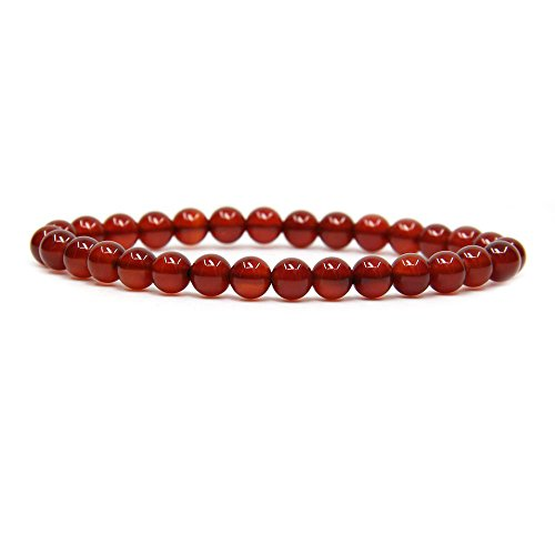 AA Grade Red Agate Gemstone 6mm Round Beads Stretch Bracelet 7