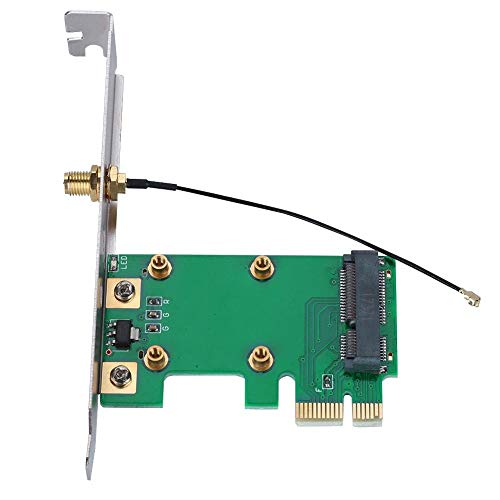 Zopsc Mini PCI-E to PCI-E Riser Card, Expand External Adapter Network Card Full Height Baffle with a Height of 12.2cm, Support All PCI-E Mini Cards,FL/IPX to RP-SMAWiFi RF Cable Adapter