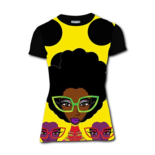 Wild-curl up Girl Glasses T-shirts Tee Shirt for Women Tops Round Black (Out Of Africa Costumes Ideas)