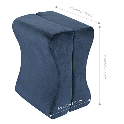 LANGRIA Knee Pillow Memory Foam Leg Pillows for Leg, Back, Hip Pain Relief, Foldable and Antibacterial Design with Removable Cover, CertiPUR-US Certified, (9.8 x 5.9 x 7.0 inches) Navy Blue by LANGRIA (Image #4)