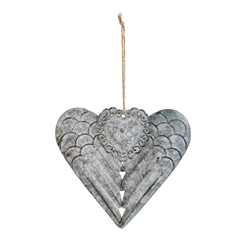 DEMDACO Winged Heart Pewter Grey 6 x 5 Iron Metal Christmas Hanging Figurine - Heart Ornament Winged
